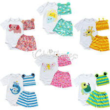 3pcs Boys Girls Baby Grow Newborn Hat Romper Shorts Bodysuit Outfit Clothing Set