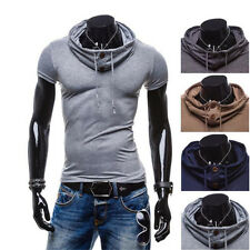 1Pcs Leisure Hoodie Polo T-Shirt Short Sleeve Tops Mens V Neck Casual Muscle