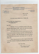 Erie Railroad Company 1920 signed letter - agent Henry Adams to Maine Central RR