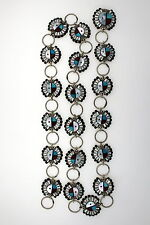 "Zuni Sterling Silver Multi Stone Inlay Sun Face Concho Belt, 34 1/2"" Long"
