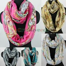 Women Fashion Colorful Paisey Floral Print Ladies Long Shawl/Infinity Loop Scarf