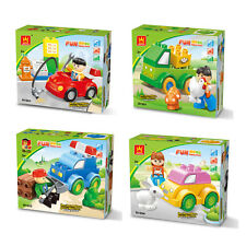 Creativity Cartoon Car Figures Plastic Bulding Block Bricks Educational Kids Toy