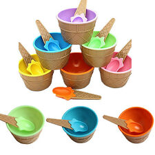 1Pcs Dessert Eco-Friendly Kids Couples Cup Bowl With Spoon Ice Cream Container