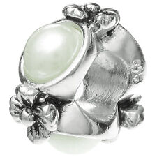 Sterling Silver Round Flower Ring Pearl Spacer Bead For European Charm Bracelets