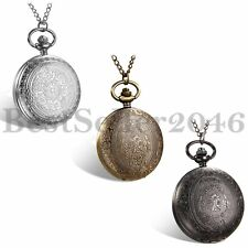 Fashion Vintage Carved Pattern 24H Dial Quartz Pocket Watch Pendant Necklace