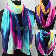 Women's Fashion Colorful Wave Painting Soft Long Shawl/Infinity Loop Lady Scarf