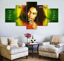 5 Panels Bob Marley HD Painting Canvas Wall Art Home Decor