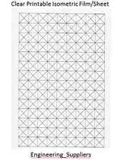 Isometric A4 Sheet Clear Grid Printable 10, 12.7, 20, 25mm squares 1, 5 or 10 Pk