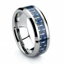 8mm Tungsten Carbide Mens Wedding Ring w/ Blue Carbon Fiber Size 6 - 13