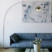 Silver Chrome Arco Style Arc Floor Lamp Marble Base Lampshades Light Home Lights