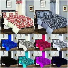 LUXURY DAMASK FLOCK 4PCS COMPLETE BEDDING SET, MATCHING CURTAINS, CUSHION COVERS
