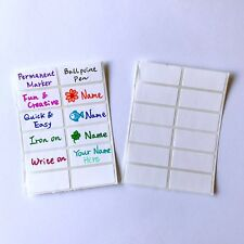 Iron On Write On Name Labels Stickers Tags for Clothes School Uniforms