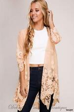 S-M-L She + Sky  Floral Lace Kimono Sheer Cardigan - Taupe
