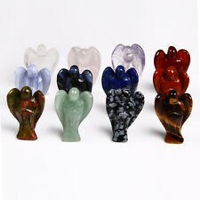 Natural Stone Angel Wing Figurine Craved Statue Reiki Healing Crystal Craft