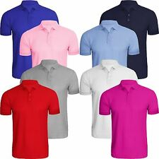 New Mens Short Sleeve Plain Polo Pique T-Shirt Style Fit 8 Colours Tee Shirt Top