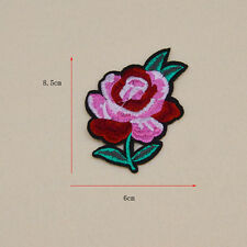 Rose Artificial flower Embroidery patch Ironon sew clothes Fabric Applique badge