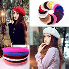 New Womens Sweet Fashion Warm Soft Fur Classic Beret French Beanie Hat Baggy Cap