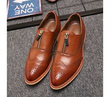 UK Size 5-10 New Comfort Leather Mens Slip On Formal Dress Brogue Loafers Shoes