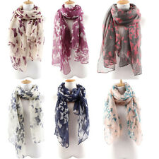 Women's Butterfly Print Long Neck Voile Wrap Shawl Pashmina Stole Scarf Hot Sell