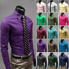 Fashion Mens Luxury Stylish Casual Long Sleeve Dress Shirts Slim Fit Shirts uk