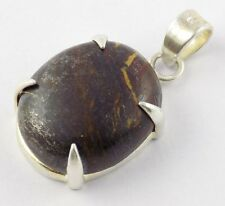 Natural Iron Tiger Eye Oval Shape 20x24mm Cabochon Gemstone 925 Sterling Silver