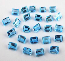 Wholesale Lot Natural Swiss Blue Topaz Octagon Normal Cut Faceted Loose Gemstone