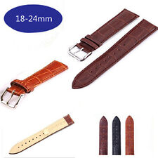 18mm-24mm Genuine Calf Leather Crocodile Watch Band Strap Belt Watchband Buckle