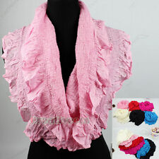 Fashion Womens Ruffle Solid Cotton Infinity Circle Loop Scarf Ladies Scarves New