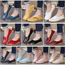 Womens Lady Oxfords Shoes Leather Loafers Boat Shoes Casual Comfort Flats New AU