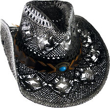 Cowboy Hat Straw Cowboy Hat Hat with Hatband black/white flamed