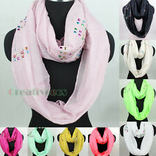 Women Fashion Colorful Rhinestone Long Wrap Shawl/Infinity Loop Cowl Scarf