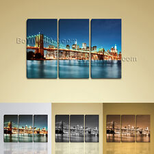 Large New York City Brooklyn Bridge Cityscape Contemporary Wall Art Canvas Print