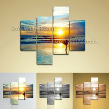 Large Landscape Picture Sunrise Canvas Art Wall Decor Living Room 4 Panels Print