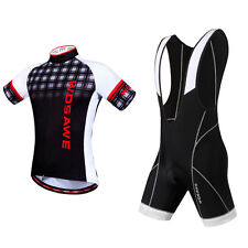 Men Short Sleeve Cycling Jersey + Pad Bib Shorts Checked Clothing Bicycle Suit