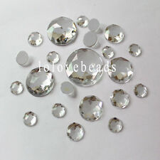 Clear Flatback Acrylic Diamond Triangle Facets DIY Rhinestone Round Gems 10-30mm