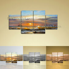 Large Seascape Picture Sunset Painting Abstract Wall Dining Room 4 Panels Print