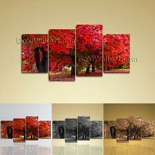 Large Contemporary Canvas Wall Art Print Picture Of Tree Fall Red Autumn HD