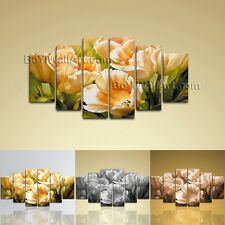 Large Floral Wall Art Tulip Flower Canvas Abstract On Hexaptych Pieces print