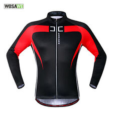 Winter Cycling Long Sleeve Jackets Fleece Thermal Bicycle Windproof Red Coats