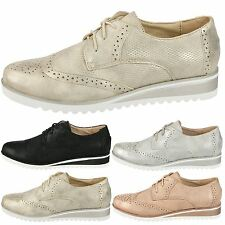 Betty Womens Flats Low Wedge Heels Lace Up Shimmer Brogues Ladies Shoes Size New