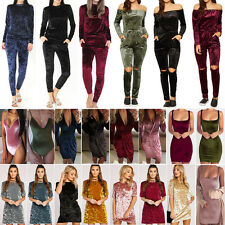 Ladies Crushed Velvet 2Pcs Tracksuit Womens Bodysuit Jumpsuit Leotard Dress Top