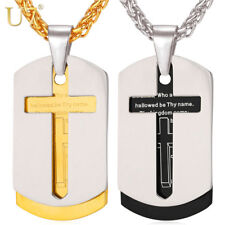 U7 Cross Necklace Pendant Christian Jewelry Bible Lords Prayer Dog Tags Gold