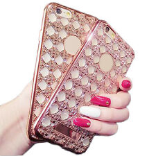 1Pcs Grid Shell Diamond Electroplating Sets Phone New Luxury For iphone soft