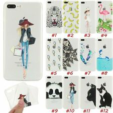 Patterned Transparent Soft TPU Cover Skin Case For Apple iPhone 5 5s 6 6s 7 Plus