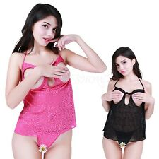 Sexy Women's Lingerie Lace Dress Babydoll Underwear Nightwear Open Bust+G-String
