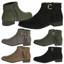 Kaya Womens Flats Low Heels Ankle Boots Buckle Strappy Tassel Ladies Shoes Size