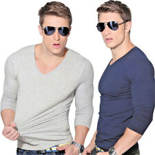 Men Slim Fit Tee V Neck Crew Neck Long Sleeve Casual Pullover T-shirt Top Blouse