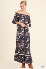 UMGEE Floral Off Shoulder Crochet Lace Full Maxi Dress Boho Hippie Gypsy S M L
