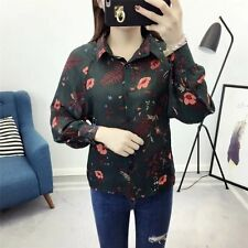 New Womens Floral Print Long Sleeve Lapel Button Down Shirt Blouse Tops SML