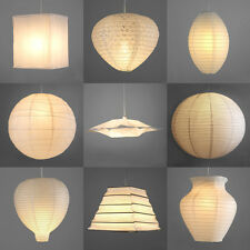 Pair of Modern Paper Ceiling Pendant Light Lamp Shades Lanterns Lampshades White